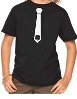 Youth Lucky Tie Shirt Party T-Shirt Shamrock Saint Patrick's Day Gift Boys Kids