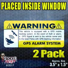 GPS 2 pk INSIDE window YELLOW 3.5x1.5 STICKERS - Anti Theft Security Alarm Decal