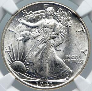1943P UNITED STATES US Silver WALKING LIBERTY Half Dollar Coin EAGLE NGC i88669