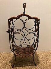 Wicker & Ornate grapevine metal work wine rack bottle holder or towel holder