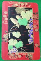 Playing Cards 1 Single Card Old Named LACQUER Birds Flowers Art Painting Gilt 3