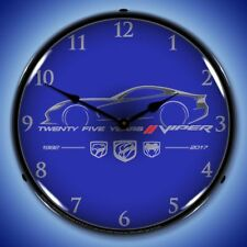 Dodge Viper 25 Years ~ Retro Nostalgic Man Cave Decor Backlit Lighted Wall Clock