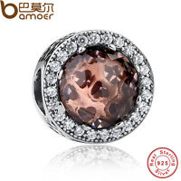 Bamoer Authentic S925 Sterling Silver Charms With AAA Zircon Fit Bracelets Chain