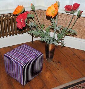Biagi Upholstery & Design Small Cube Stool in Assorted Purples Velvet Stripe