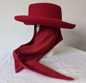 Bollman Hat Co. Vintage Red Hat w/ Knit Scarf Tie 100% Wool Doeskin Felt