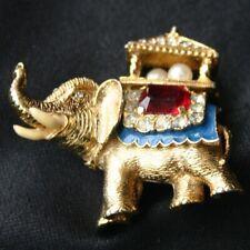 Vintage ERWIN PEARL Elephant Rhinestone Enamel Pin