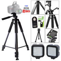 "60"" PRO TRIPOD + 36LIGHT LED+REMOTE FOR CANON EOS REBEL 70D 80D 5D T6I T3I T4I"