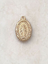"Gold Miraculous Medal 1/2"" on 18""Chain Perfect for Children / First Communion"