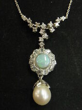 ART NOUVEAU STYLE 2CT DIAMOND NECKLACE WITH PLATINUM Necklace Opal and Pearl