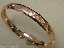 Lady's Rose Pink Gold Plated Adjustable Bangle Bracelet 9mm Hand Engraved