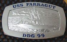 USS Farragut (DDG-99) Official Crew Belt Buckle Silver Tone male