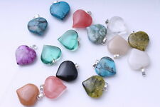 Mixed Millefiori Stone Glass Heart Pendants DIY Bracelet Necklace 10pcs
