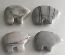 4 Grey Picasso Marble Gemstone Zuni Bears - Native American Crafts / Jewellery