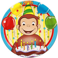 Curious George Edible Birthday Cake Icing Sheet Topper Decoration Round Images