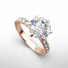 REAL DIAMOND ROUND RING SIX PRONG WOMENS 1.5 CARATS SI2 14K ROSE GOLD RED ESTATE