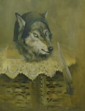 Original Russian oil USSR  wolf realism coyot USA Painting portrait 2014