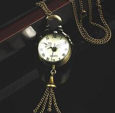 Vintage Bronze Quartz Necklace Chain Steampunk Ball Glass Pocket Watch