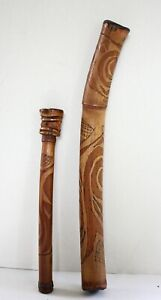 PNG - PAIR OF  OLD CARVED BAMBOO PIPES.