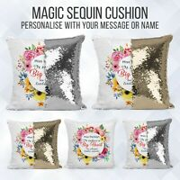 Personalised Sequin Cushion | Best Teacher Message Reveal | Pillow Case & Insert