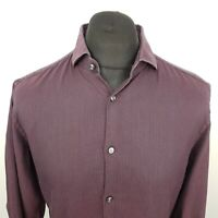 HUGO BOSS Mens Shirt 41 16 LARGE Long Sleeve Purple Slim Fit Check Cotton