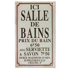 Plaque Porte Ici Salle de Bains en Métal Publicitaire Rétro pour SDB Class Déco