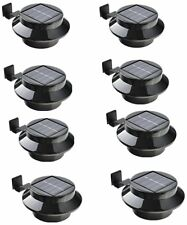 8 Pack Solar Power Outdoor Waterproof Gutter LED Security Spot Flood Light Black