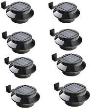 8 Pack Solar Power Outdoor Waterproof Gutter LED Security Spot Flood Light Black
