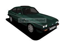 FORD CAPRI 280 GRAPHIC CAR ART PRINT (SIZE A3). PERSONALISE IT!