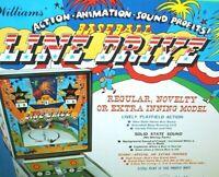 Line Drive Pinball Baseball FLYER Williams 1972 Original NOS Game Artwork Sheet