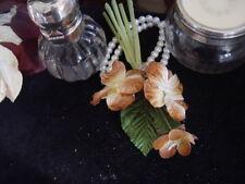 VELVET MILLINERY FLOWERS  -  LIGHT GOLDEN BROWN & CREAM PANSIES