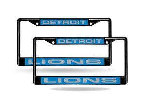 Detroit Lions Black Metal (Set of 2) Laser Cut License Plate Frames