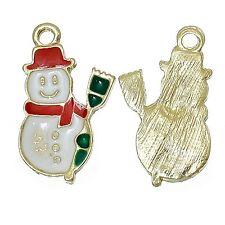 4 x Enamel Snowman Gold Plated Pendant Christmas Charms Xmas 22mm