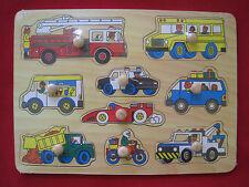 9-delige houten puzzel met noppen - voertuigen - Puzzle en bois - voitures 9 pcs