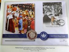 2002 SILVER PROOF FALKLAND ISLS 50 PENCE COIN PNC + COA GOLDEN JUBILEE 1/500