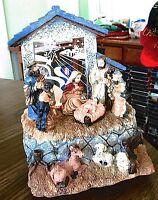 Christmas Lighted Musical Nativity Manger Scene Silent Night Home Decor