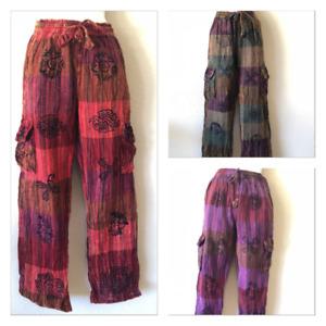 M-2XL Patchwork UNISEX Hippie Gypsy Cotton Trouser Yoga Festival Pants Nepal 503