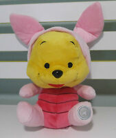 WINNIE THE POOH PLUSH TOY FROM DISNEYLAND DRESSED AS PIGLET! ABOUT 18CM!