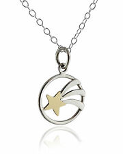 Shooting Star Pendant Necklace - Sterling Silver, Bronze - Stars Wish Sky NEW