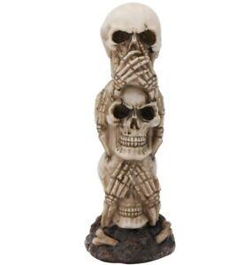 See No Evil Three Stacked Human Skulls Halloween Figurine