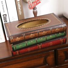 Creative Retro Book Shape Tissue Box Holder Wooden Container Tissue Cover Case