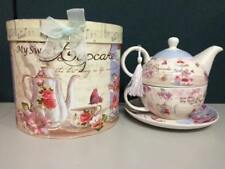 Gift Boxed MY SWEET CUPCAKE 3 piece TEA FOR ONE teapot and teacup set