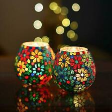 Multicolor Flowers Glass Mosaic Candle Holder, Tea Light Holder Votive, Set of 2