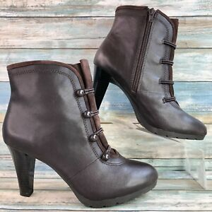 Aerosoles Brown Leather Granny High Heel Ankle Boot Faux Button Front Zip Up 8.5