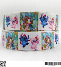 1 METRE OF LILO AND STITCH ANGEL RIBBON SIZE 1 INCH BOWS HEADBANDS CRAFT MAKING