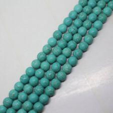 "New 8mm Blue Turquoise Gemstone Round Loose Beads 15"""