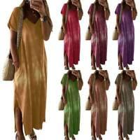Ladies Tye Dye Boho Short Sleeve Slit Dress Summer Beach Kaftan Baggy Maxi Dress