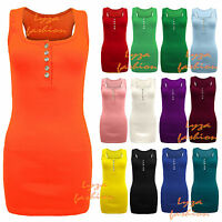 L139 LADIES SLEEVELESS STRETCH DIMOND PLAIN RACER BACK MUSCLE WOMENS RIB VEST