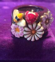 *NEW* FILI MENEGATTI ITALIAN DESIGNER SILVER 925 Enamel BEE & FLOWER SIZE I Ring