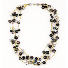Black and Gray Cultured  Freshwater Pearl  Necklace
