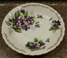 Golden Crown E & R Bouquet of the Month Bone China Saucer VIOLET England